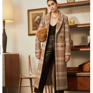 NEW!! Reformation York Coat - Brown Check
